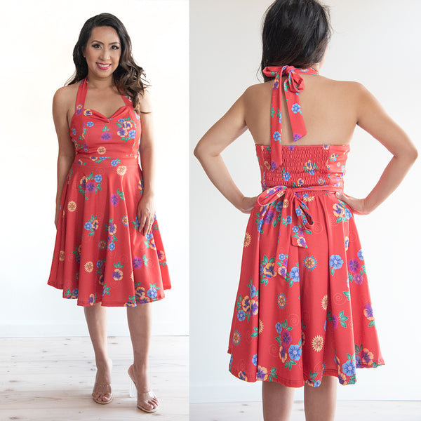 Floral Red Halter Neck Dress