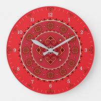 Hmong Round Wall Clock - Red & Orange