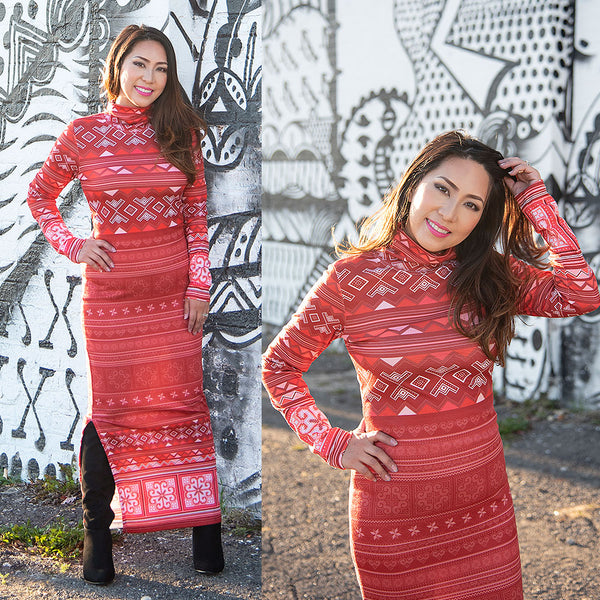 Red Turtleneck Maxi Long Sleeve Dress