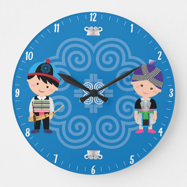 Cute Hmong Couple Round Wall Clock 10.75""