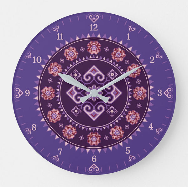 Hmong Round Wall Clock - Purple