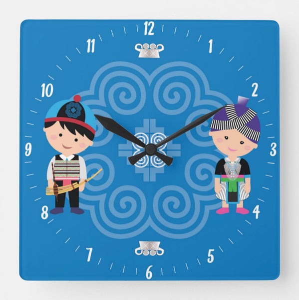 Cute Hmong Couple Square Wall Clock 10.75""