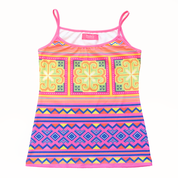 Pink and Yellow Hmong Print Spaghetti Tank Top