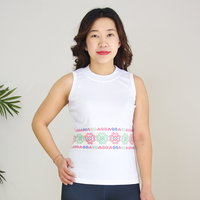 White Crew Neck Tank Top with Hmong Printed Pattern