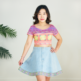Denim Skater Skirt with Hmong Embroidered Detail