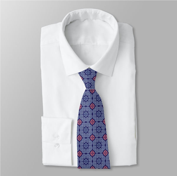 Men's Blue & Red Accent Hmong Elephant Foot Print Neck Tie