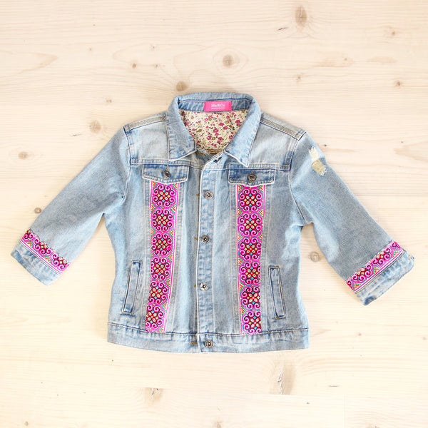 Denim Jean Jacket with Pink Hmong Embroidered Detail