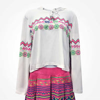 White Velour Hoodie with Hmong Trim Designs