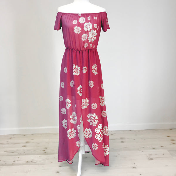 Red Wine Off Shoulder Chiffon Dress with Hmong Elephant Motif
