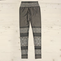 Grey Hmong Printed Velour Yoga Leggings