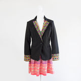 Black Blazer Jacket with Yellow and Pink Hmong Embroidered Detail