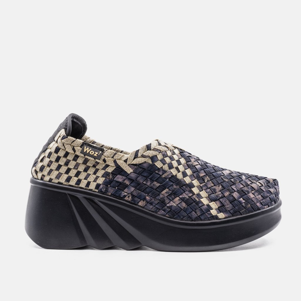 Arezzo Dark Gray and Gold Wedge