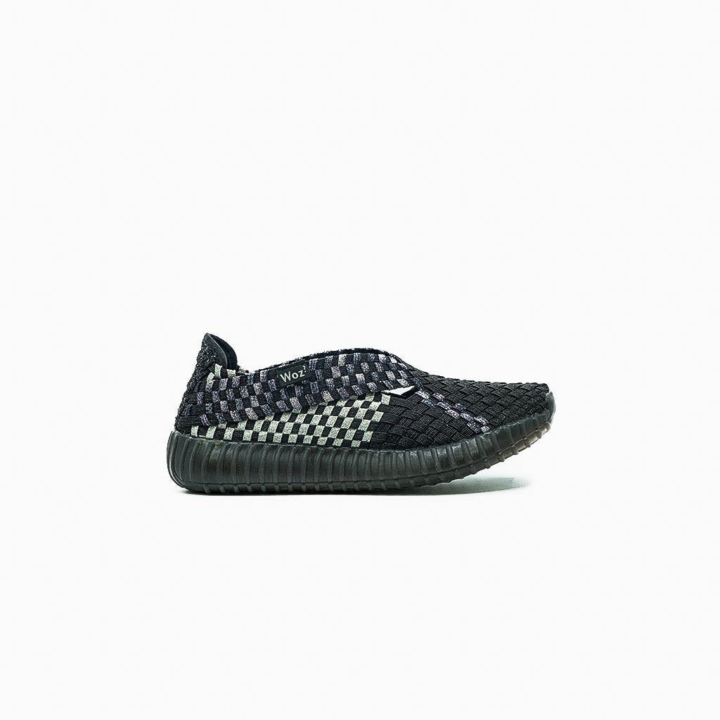 Andria Metalic Black and Silver Slip-on Sneakers - MyJooti