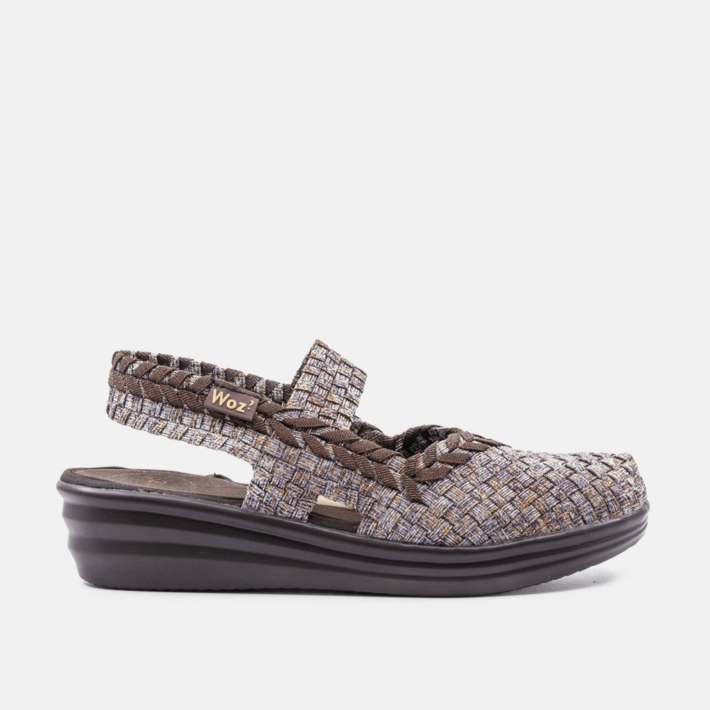 Savona Silver Nude and Brown Wedge
