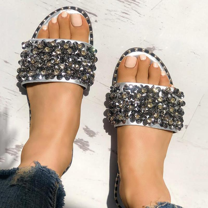 Sandalsdaily Sequins Shiny Peep Toe Antiskid Slippers