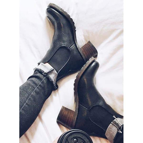 Sandalsdaily Chunky Cleated Heel Chelsea Boots