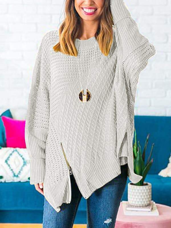 Sandalsdaily Oversize Cold-Shoulder Pullover Sweater