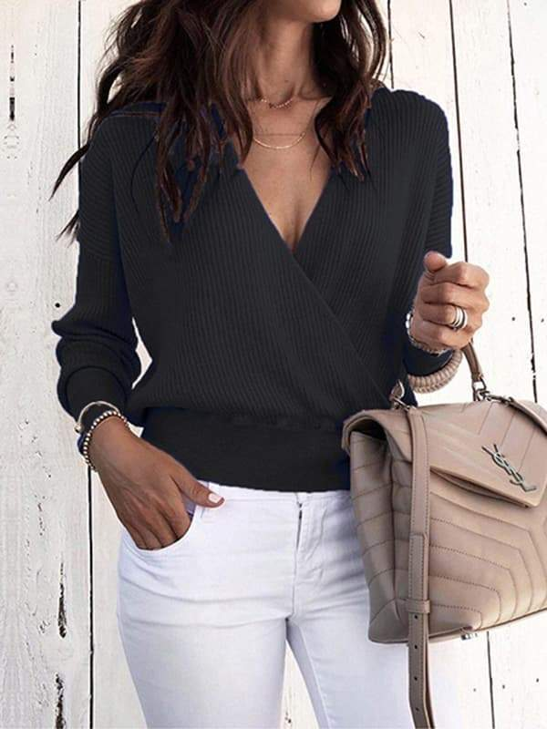 Sandalsdaily Deep V Long Sleeve Pure Color Sweater