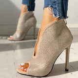 Sandalsdaily Studded Detail Peep Toe Thin High Heels