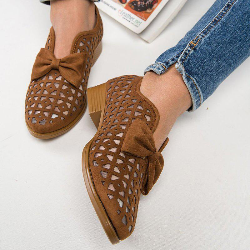 Sandalsdaily Hollow Out Chunky Heel Loafers For Women