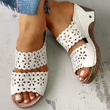 Sandalsdaily Open Toe Hollow Out Wedge Sandals
