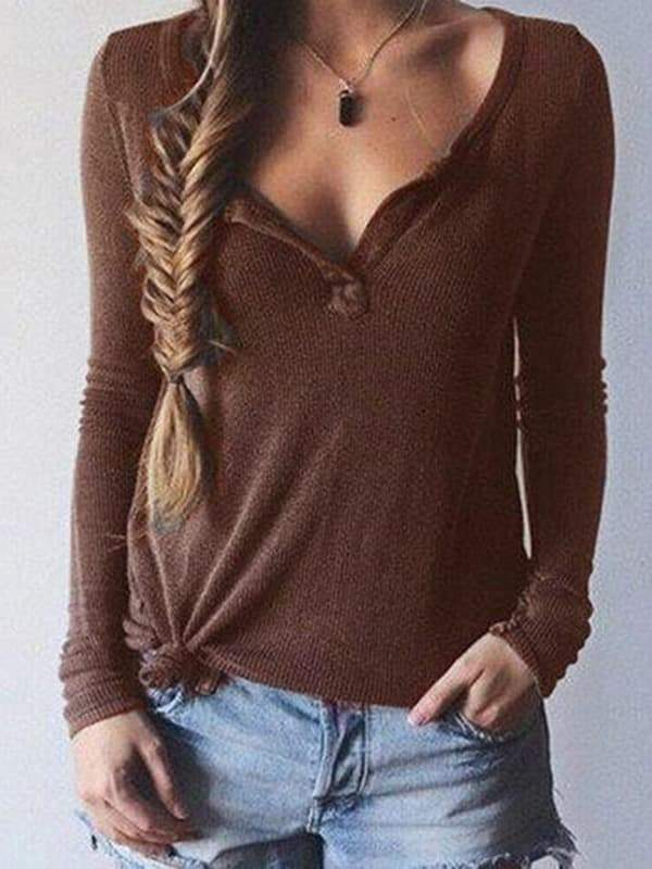 Sandalsdaily Women V Neck Long Sleeve Top