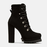 Sandalsdaily Women Stylish Lace-up High Heel Boots