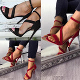 Sandalsdaily Ankle Strap Buckle Open Toe High Heels