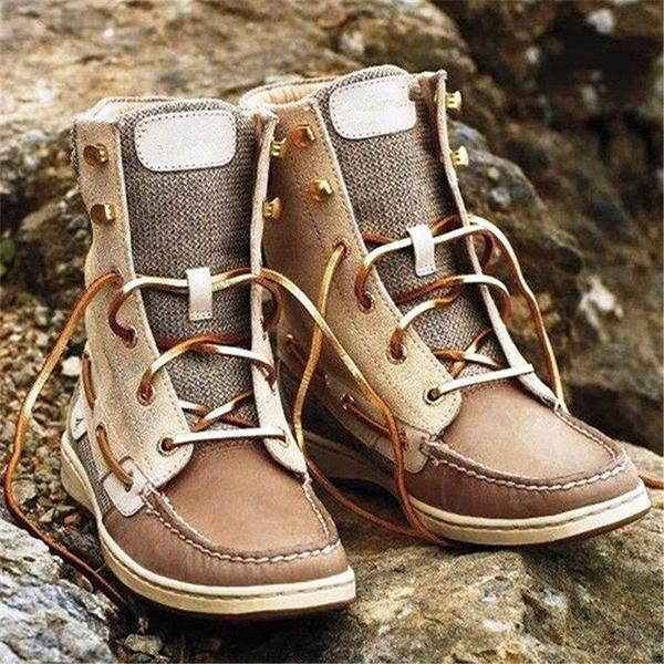 Sandalsdaily Women Casual Lace-Up Flat Heel Ankle Boots