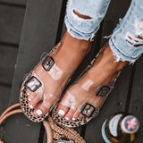 Sandalsdaily Clear Straps Silver Buckles Cheetah Slippers