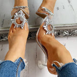 Sandalsdaily Studded Pointed Toe Transparent Thin Heels