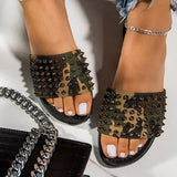 Sandalsdaily Studded Spiked Strap Lightly Padded Insole Slippers