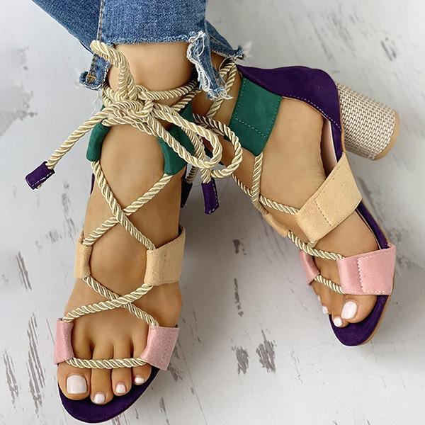 Sandalsdaily Colourblock Lace-up Chunky Heels Open Toe Sandals