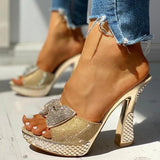 Sandalsdaily Women Fashion Paillette Rhinestone Slip-on Sandals
