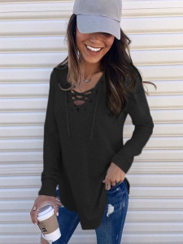 Sandalsdaily Lace Up Long Sleeve Sweater
