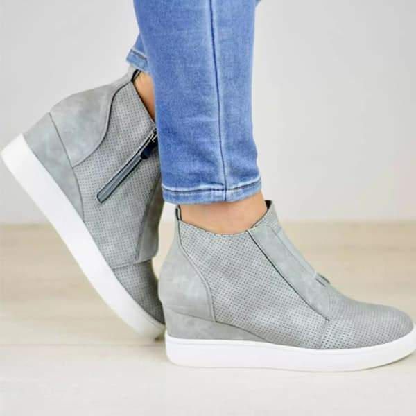 Sandalsdaily Zipper Wedge Breathable Sneakers