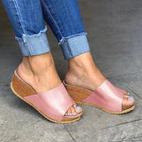 Sandalsdaily Fashion Style Peep Toe Slip-On Wedges Sandals