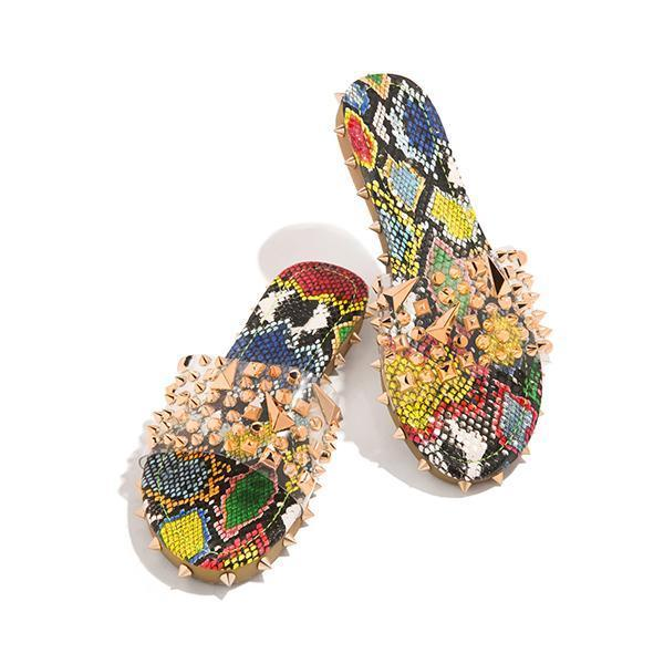 Sandalsdaily Multi-Sized Studs Clear Strap Slippers