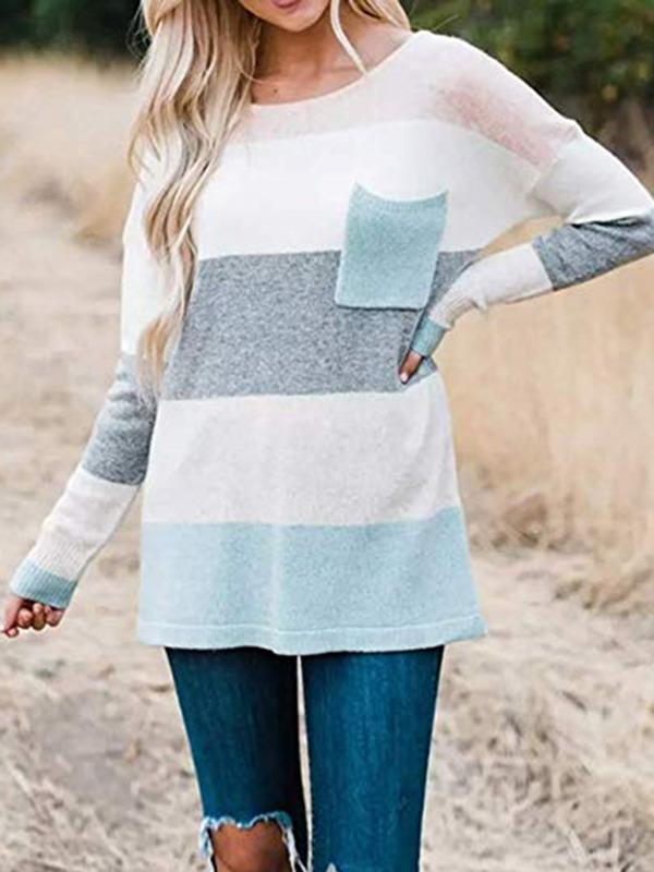 Sandalsdaily Stripe Round Neck Cute Sweater