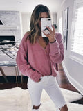 Sandalsdaily Solid Color V-Neck Sweater