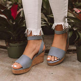 Sandalsdaily Platform Wedge Ankle Strap Sandals