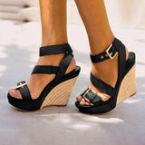 Sandalsdaily Adjustable Buckle Platform Wedge Sandals