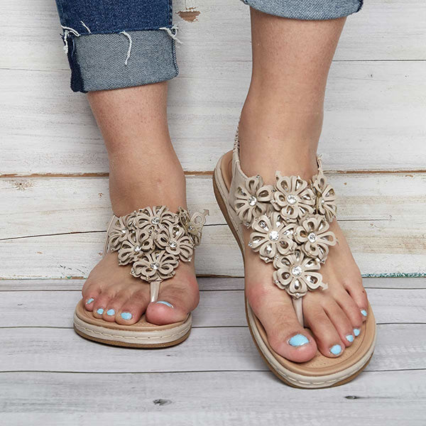 Sandalsdaily  Flowers Comfortable Flat Sandals