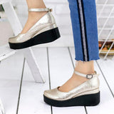 Sandalsdaily Mary Jane Wedge Wide Fit Buckle Sandals
