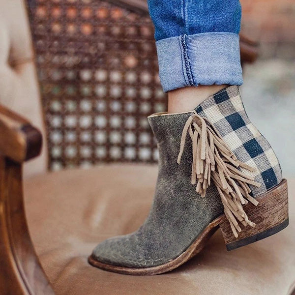 Sandalsdaily Chunky Heel Faux Leather All Season Tassel Boots