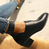 Sandalsdaily Ankle Strap Cut Out Pointed Toe Boots