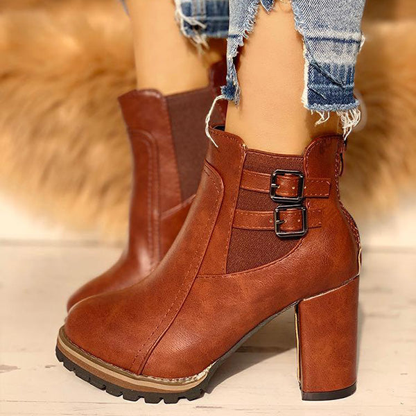 Sandalsdaily PU Buckle Platfrom Chunky Ankle Boots