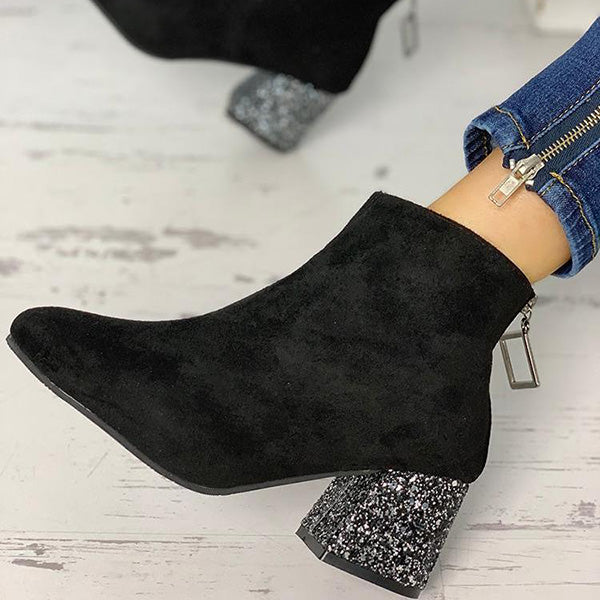 Sandalsdaily Suede Point Toe Sequins Chunky Heeled Boots