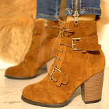 Sandalsdaily Lace-Up Buckle Chunky Heeled Boots