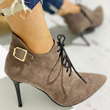 Sandalsdaily Point Toe Lace-Up Thin Heels